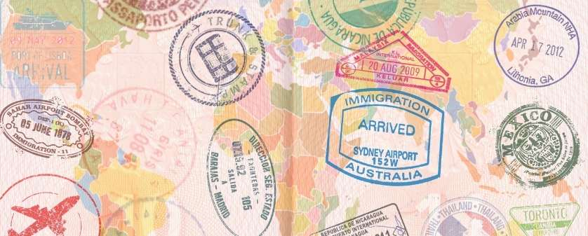 Passport with destination stamps